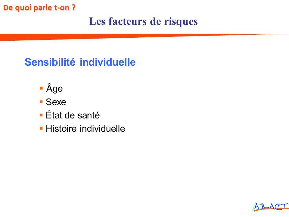 Facteurs de risques Sensibilité individuelle Âge Sexe État de santé Histoire individuelle Les facteurs de risques De quoi parle t-on ?