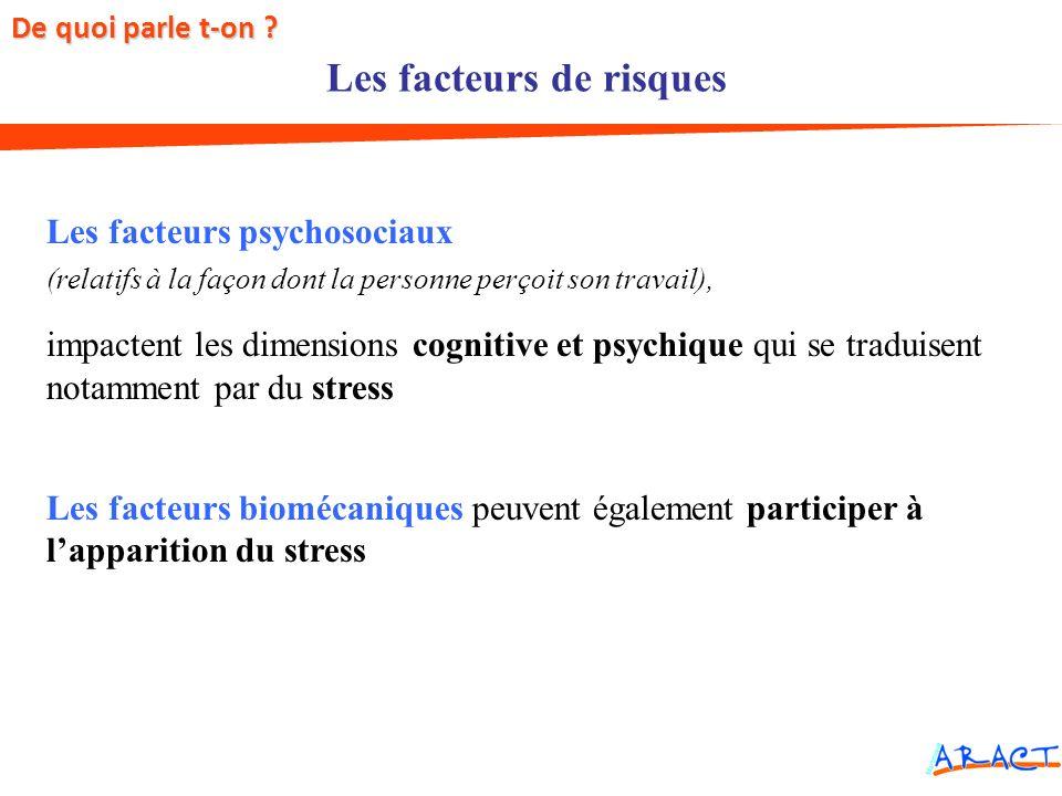 Les facteurs de risques Les facteurs psychosociaux (relatifs à la façon dont la personne perçoit son travail), impactent les dimensions cognitive et p