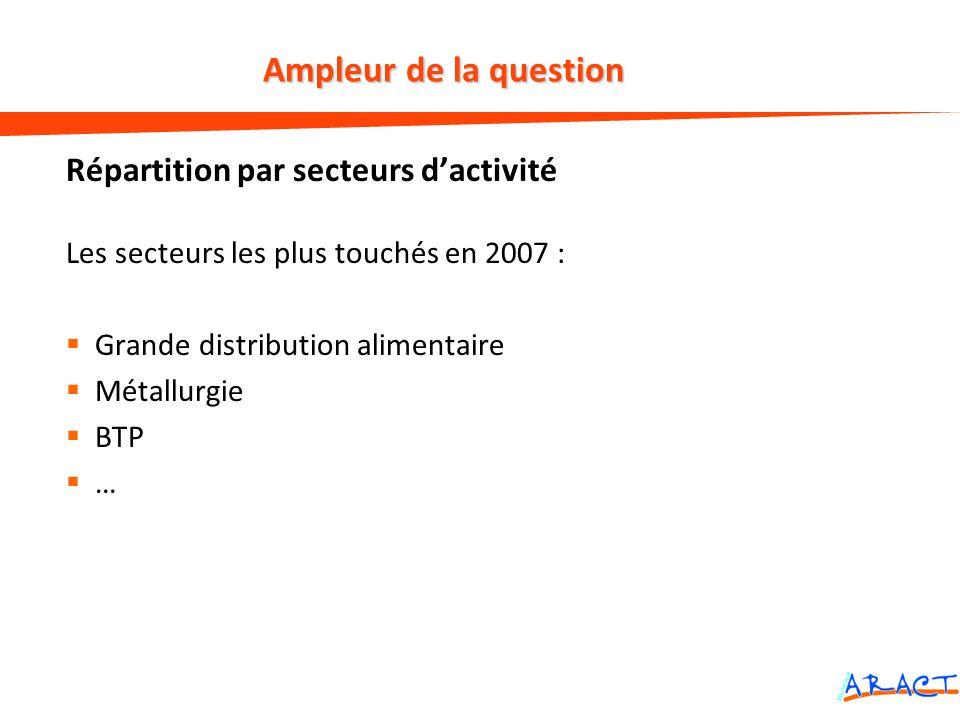 Répartition par secteurs dactivité Les secteurs les plus touchés en 2007 : Grande distribution alimentaire Métallurgie BTP … Ampleur de la question