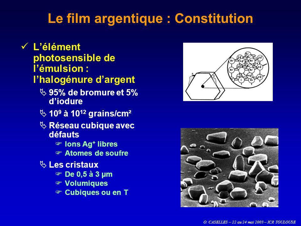 O. CASELLES – 22 au 24 mai 2003 – ICR TOULOUSE Le film argentique : Constitution Lélément photosensible de lémulsion : lhalogénure dargent 95% de brom