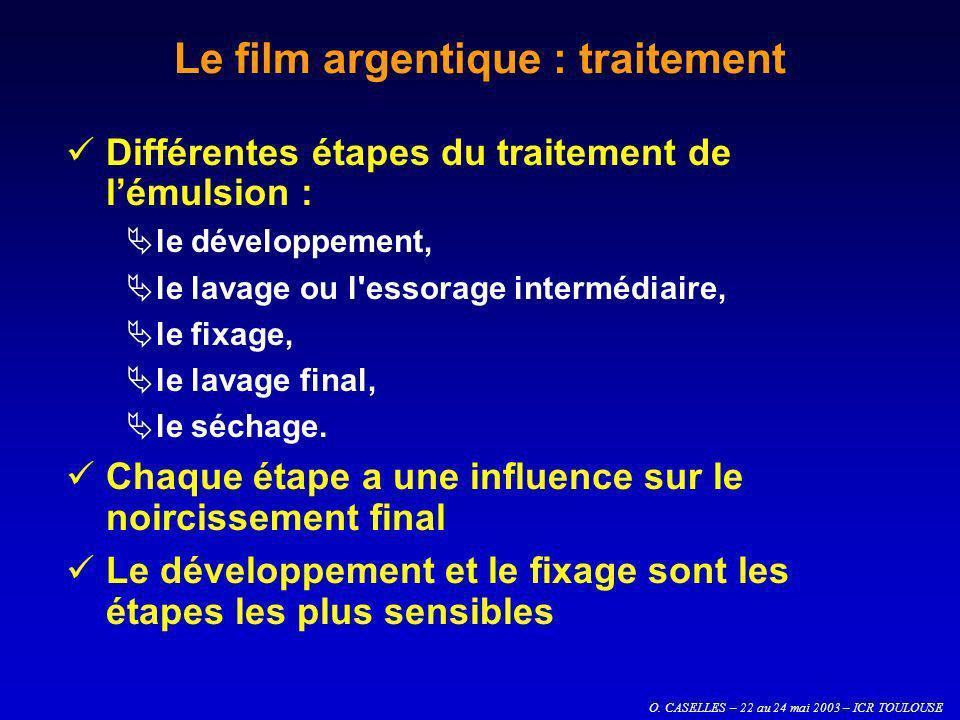 O. CASELLES – 22 au 24 mai 2003 – ICR TOULOUSE Le film argentique : traitement Différentes étapes du traitement de lémulsion : le développement, le la