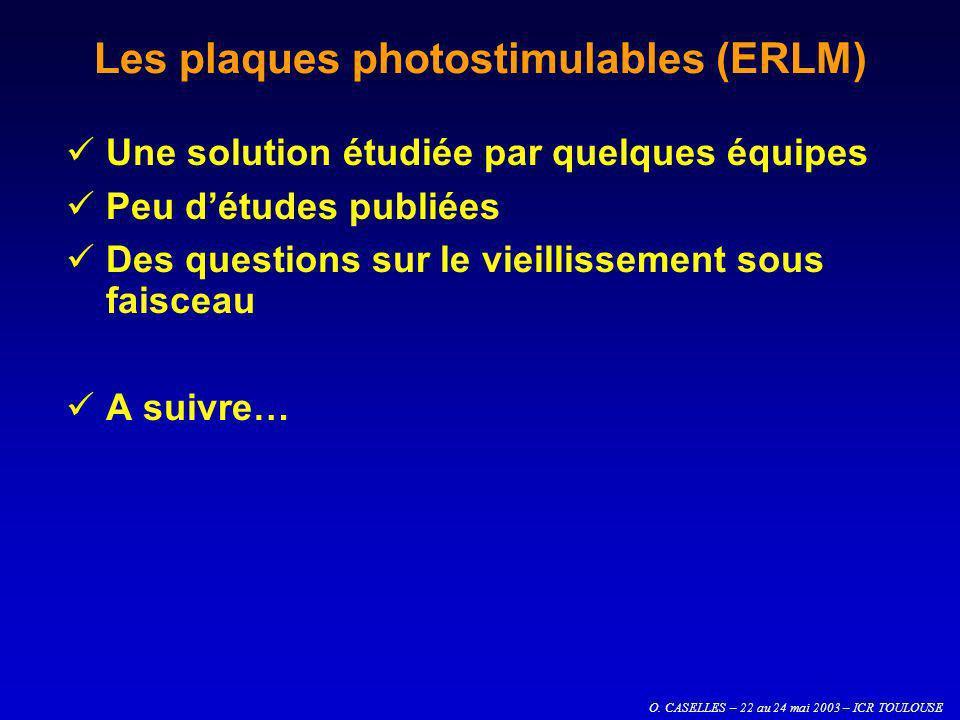 O. CASELLES – 22 au 24 mai 2003 – ICR TOULOUSE Les plaques photostimulables (ERLM) Une solution étudiée par quelques équipes Peu détudes publiées Des