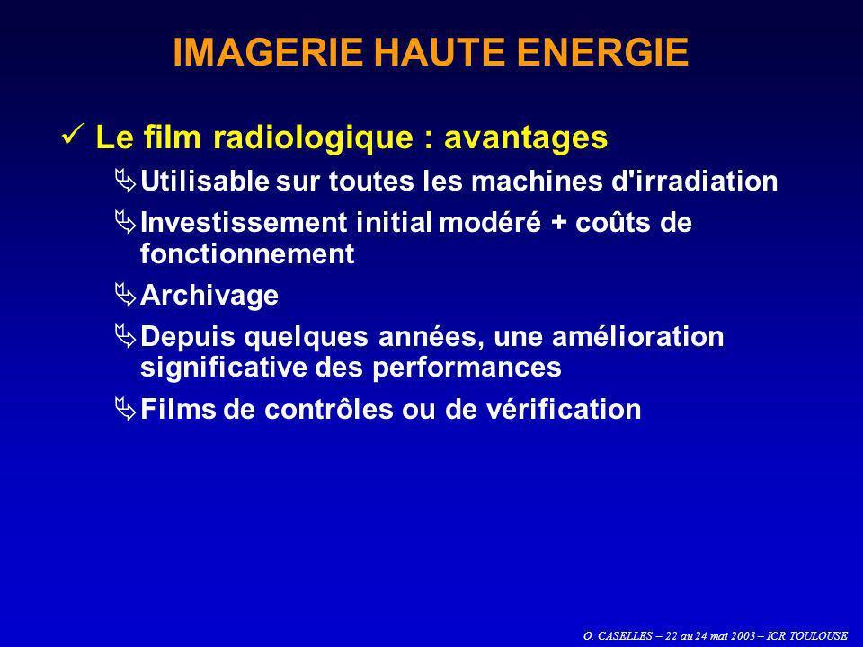 O. CASELLES – 22 au 24 mai 2003 – ICR TOULOUSE IMAGERIE HAUTE ENERGIE Le film radiologique : avantages Utilisable sur toutes les machines d'irradiatio