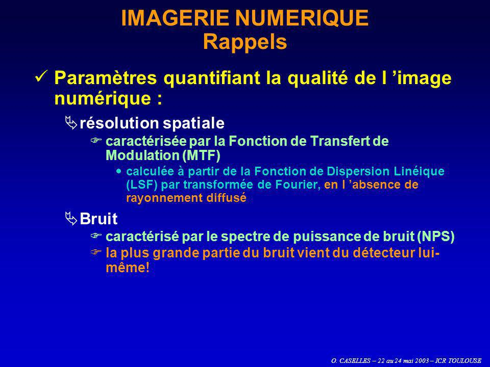 O. CASELLES – 22 au 24 mai 2003 – ICR TOULOUSE IMAGERIE NUMERIQUE Rappels Paramètres quantifiant la qualité de l image numérique : résolution spatiale