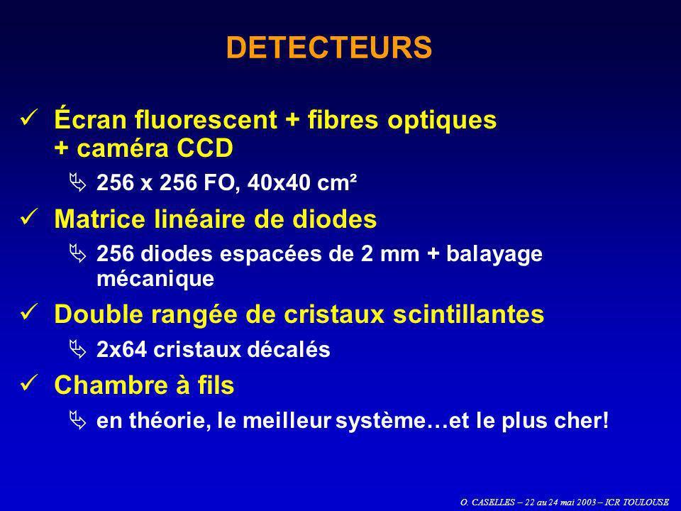 O. CASELLES – 22 au 24 mai 2003 – ICR TOULOUSE DETECTEURS Écran fluorescent + fibres optiques + caméra CCD 256 x 256 FO, 40x40 cm² Matrice linéaire de