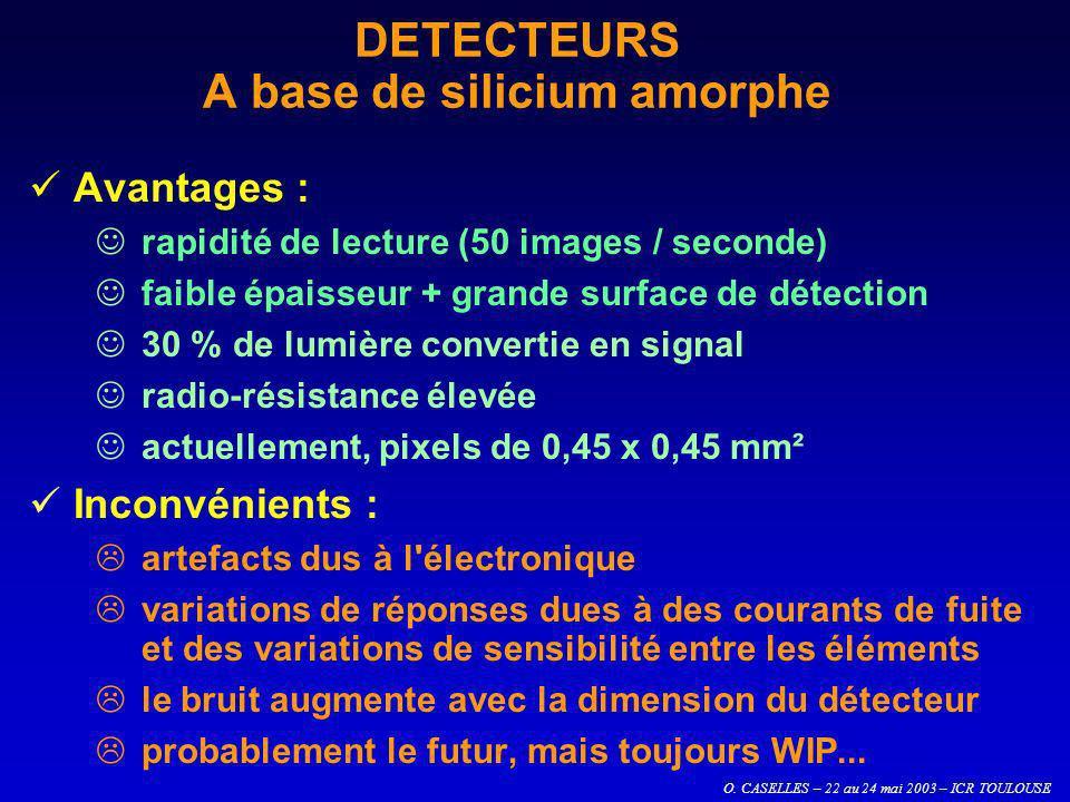 O. CASELLES – 22 au 24 mai 2003 – ICR TOULOUSE Avantages : rapidité de lecture (50 images / seconde) faible épaisseur + grande surface de détection 30