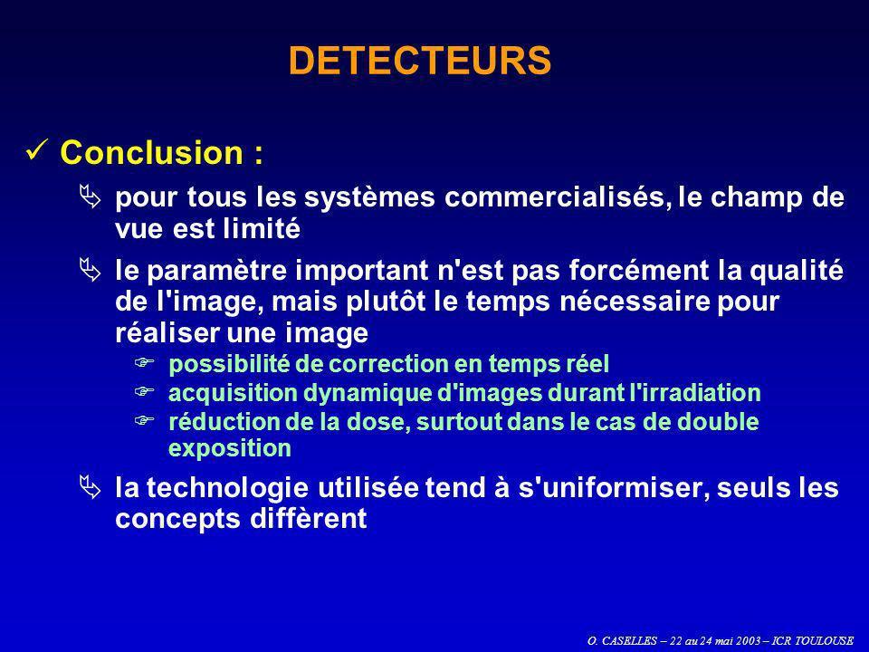 O. CASELLES – 22 au 24 mai 2003 – ICR TOULOUSE DETECTEURS Conclusion : pour tous les systèmes commercialisés, le champ de vue est limité le paramètre