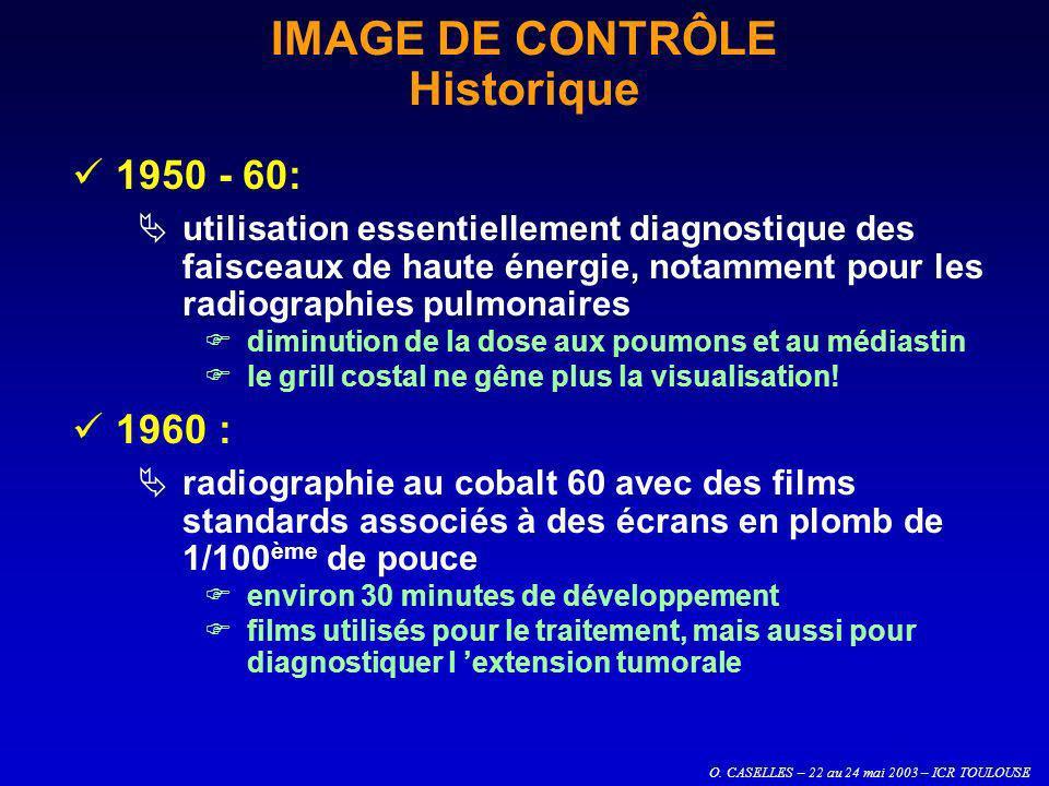 O. CASELLES – 22 au 24 mai 2003 – ICR TOULOUSE IMAGE DE CONTRÔLE Historique 1950 - 60: utilisation essentiellement diagnostique des faisceaux de haute