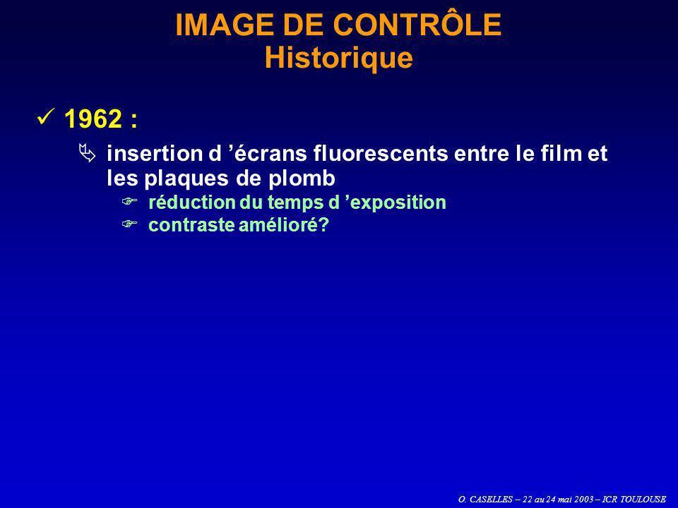 O. CASELLES – 22 au 24 mai 2003 – ICR TOULOUSE IMAGE DE CONTRÔLE Historique 1962 : insertion d écrans fluorescents entre le film et les plaques de plo