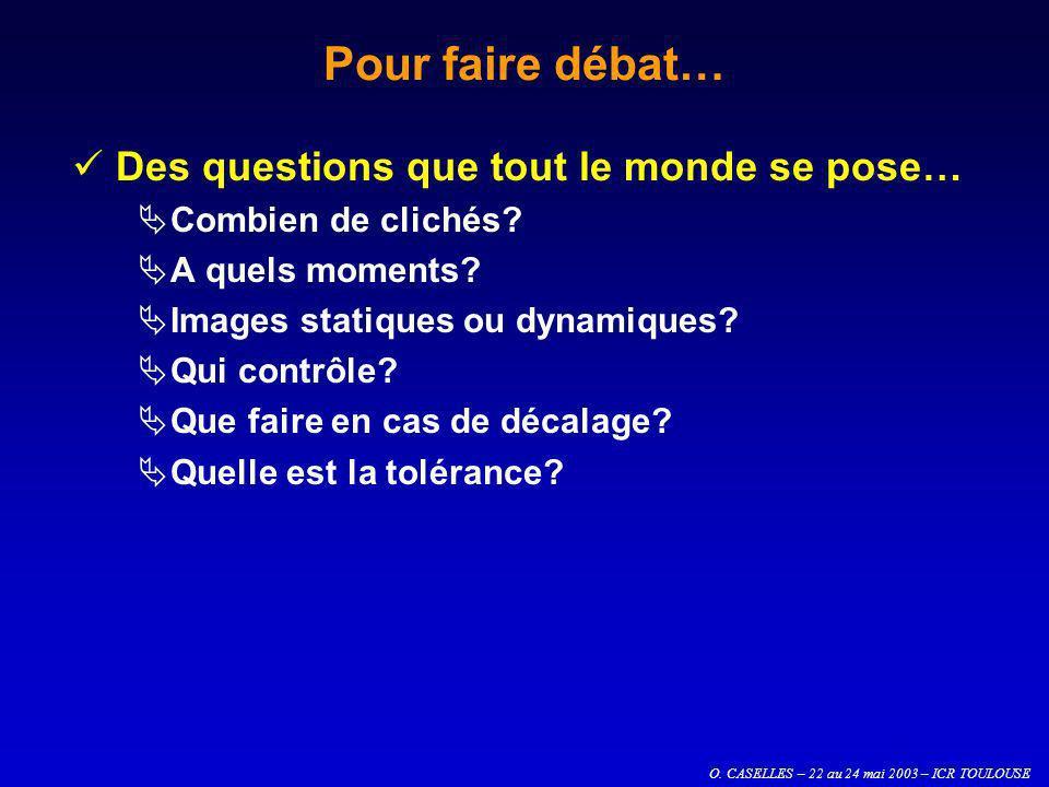 O. CASELLES – 22 au 24 mai 2003 – ICR TOULOUSE Pour faire débat… Des questions que tout le monde se pose… Combien de clichés? A quels moments? Images