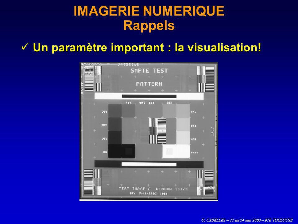 O. CASELLES – 22 au 24 mai 2003 – ICR TOULOUSE IMAGERIE NUMERIQUE Rappels Un paramètre important : la visualisation!