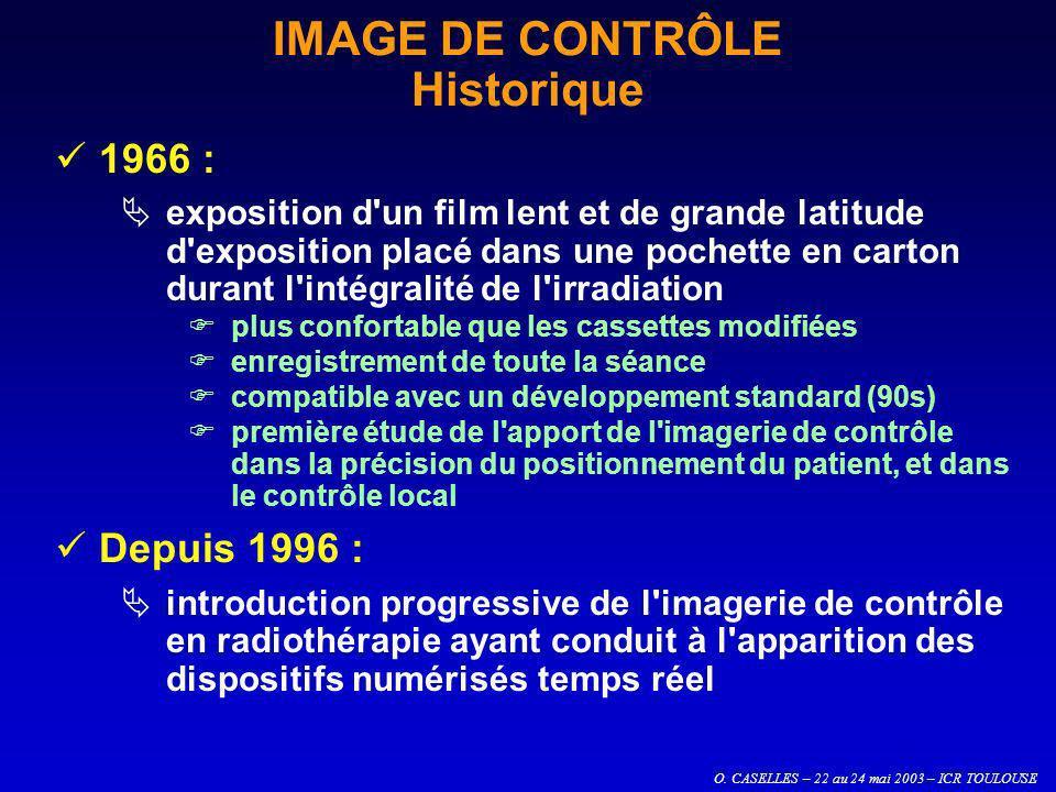O. CASELLES – 22 au 24 mai 2003 – ICR TOULOUSE IMAGE DE CONTRÔLE Historique 1966 : exposition d'un film lent et de grande latitude d'exposition placé