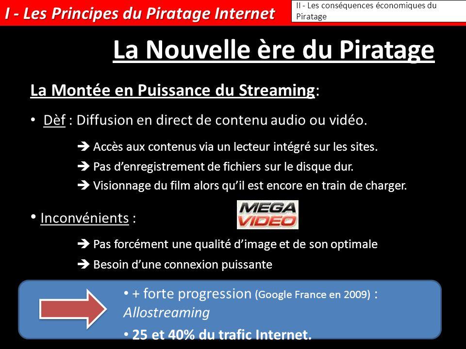 I - Les Principes du Piratage Internet Dèf : Diffusion en direct de contenu audio ou vidéo. Accès aux contenus via un lecteur intégré sur les sites. P