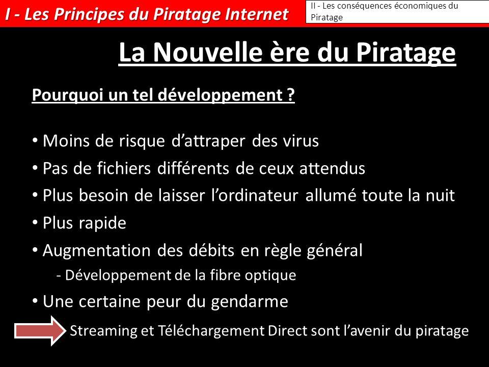 I - Les Principes du Piratage Internet Moins de risque dattraper des virus Pas de fichiers différents de ceux attendus Plus besoin de laisser lordinat