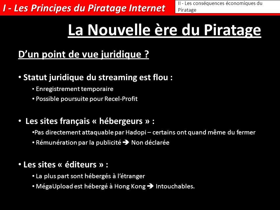 I - Les Principes du Piratage Internet Statut juridique du streaming est flou : Enregistrement temporaire Possible poursuite pour Recel-Profit Les sit