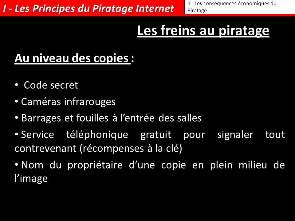I - Les Principes du Piratage Internet II - Les conséquences économiques du Piratage Les freins au piratage Au niveau des copies : Code secret Caméras