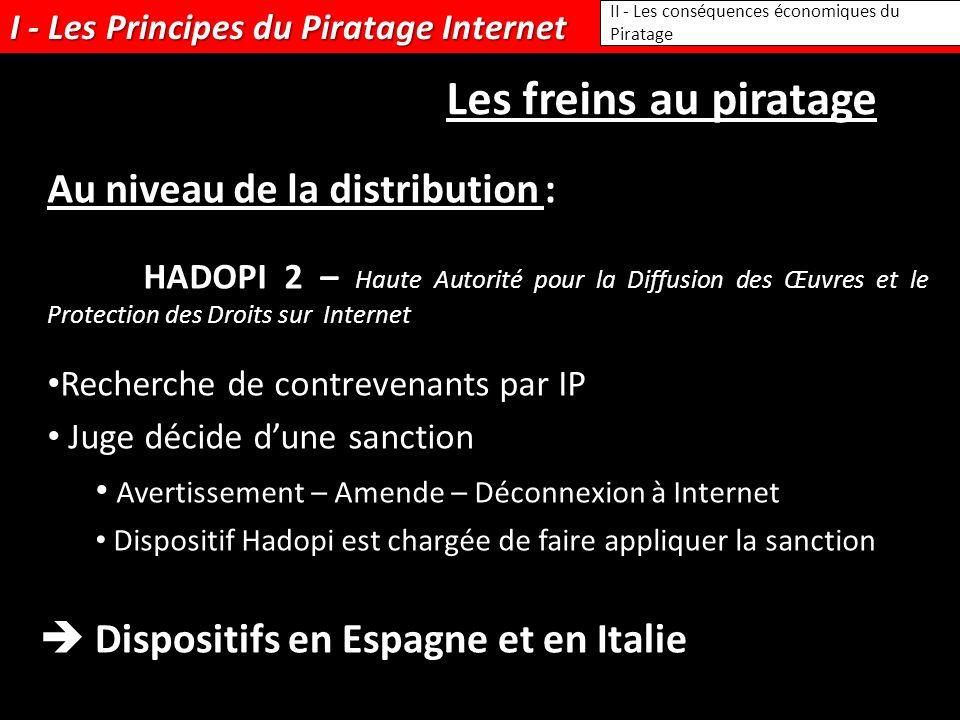 I - Les Principes du Piratage Internet II - Les conséquences économiques du Piratage Les freins au piratage Au niveau de la distribution : HADOPI 2 –