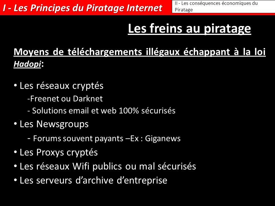 I - Les Principes du Piratage Internet II - Les conséquences économiques du Piratage Les freins au piratage Moyens de téléchargements illégaux échappa
