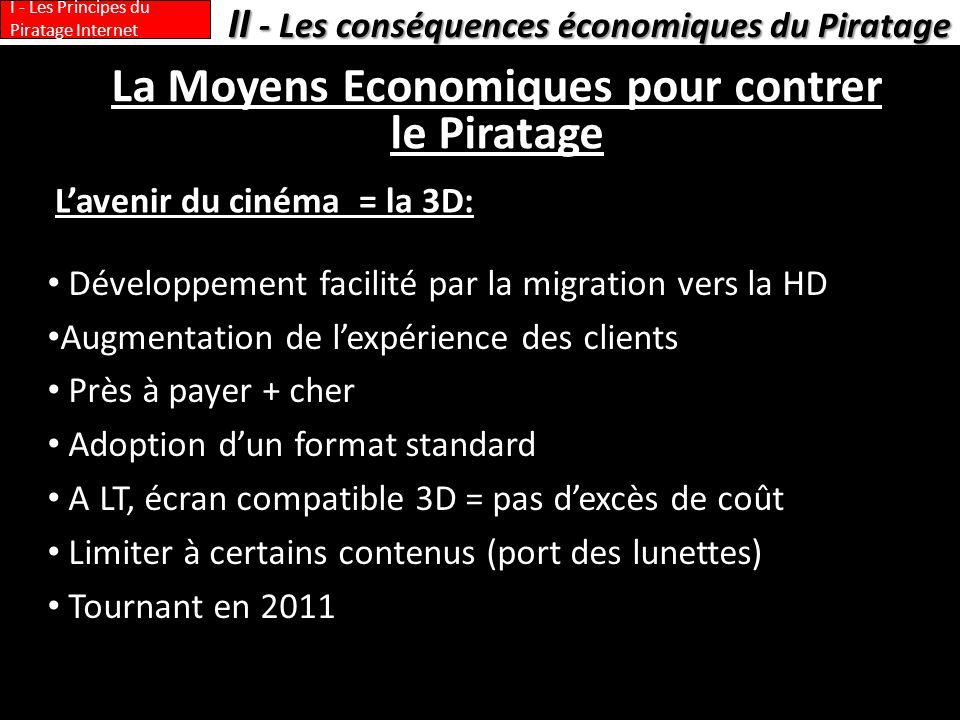 La Moyens Economiques pour contrer le Piratage Lavenir du cinéma = la 3D: II - Les conséquences économiques du Piratage I - Les Principes du Piratage Internet Développement facilité par la migration vers la HD Augmentation de lexpérience des clients Près à payer + cher Adoption dun format standard A LT, écran compatible 3D = pas dexcès de coût Limiter à certains contenus (port des lunettes) Tournant en 2011