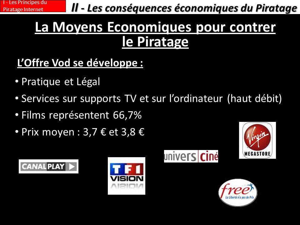 La Moyens Economiques pour contrer le Piratage LOffre Vod se développe : II - Les conséquences économiques du Piratage I - Les Principes du Piratage I