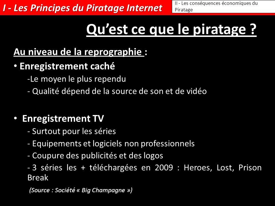 I - Les Principes du Piratage Internet II - Les conséquences économiques du Piratage Quest ce que le piratage ? Au niveau de la reprographie : Enregis