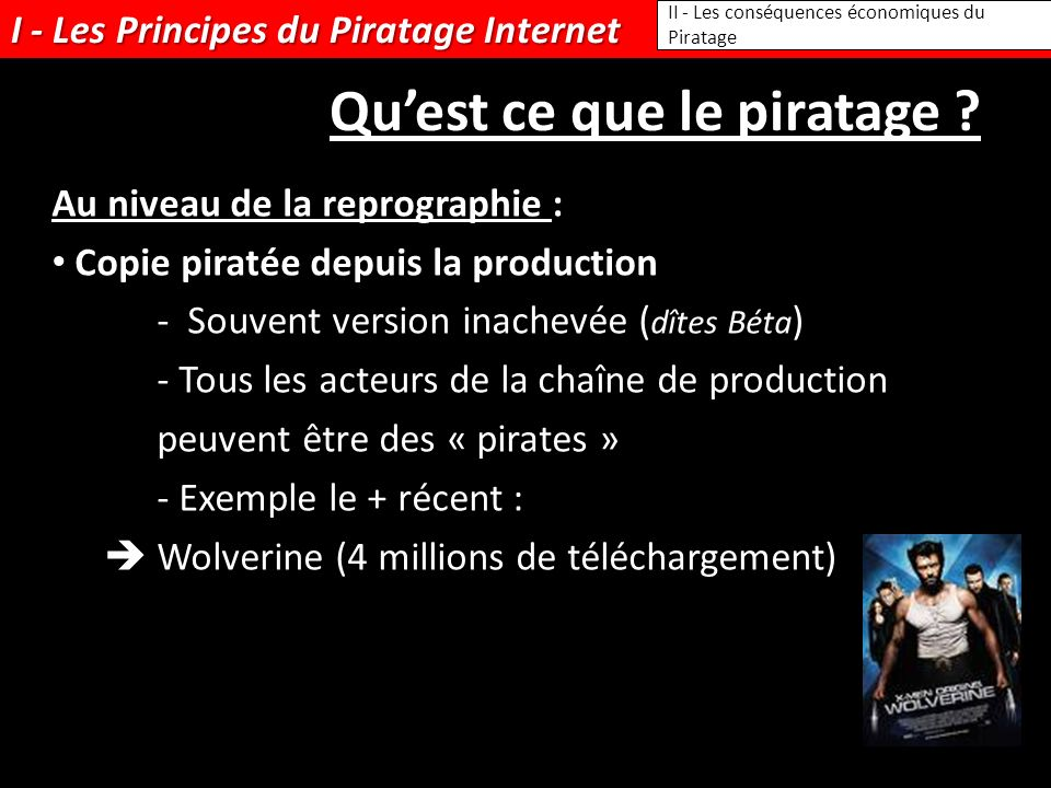 I - Les Principes du Piratage Internet II - Les conséquences économiques du Piratage Quest ce que le piratage ? Au niveau de la reprographie : Copie p