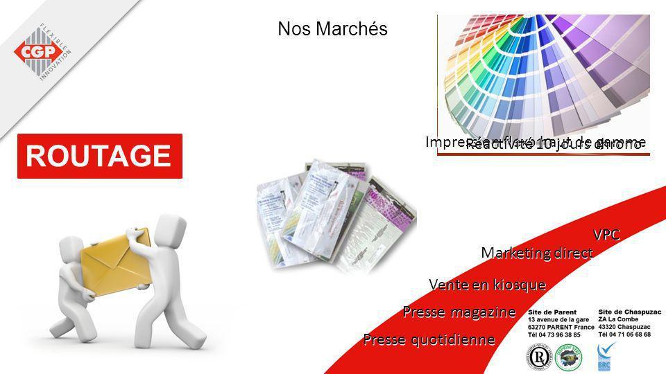 Nos Marchés Impression flexo haut de gamme ROUTAGE Réactivité 10 jours chrono VPC Marketing direct Vente en kiosque Presse magazine Presse quotidienne