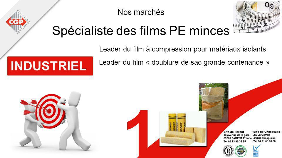 Nos marchés INDUSTRIEL 1 Leader du film à compression pour matériaux isolants Spécialiste des films PE minces Leader du film « doublure de sac grande contenance »