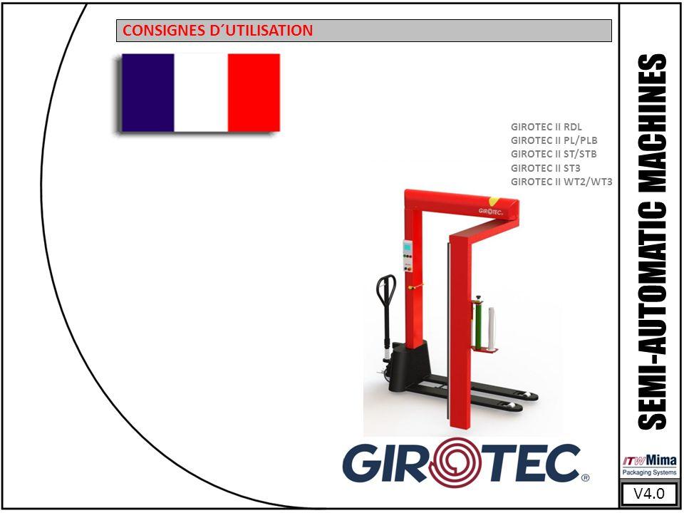 V4.0 SEMI-AUTOMATIC MACHINES CONSIGNES D´UTILISATION GIROTEC II RDL GIROTEC II PL/PLB GIROTEC II ST/STB GIROTEC II ST3 GIROTEC II WT2/WT3