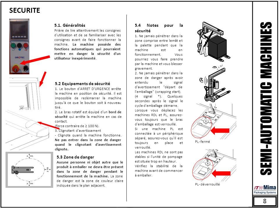 8 SECURITE SEMI-AUTOMATIC MACHINES PL- fermé PL- déverrouillé 5.1. Généralités Prière de lire attentivement les consignes d'utilisation et de se famil
