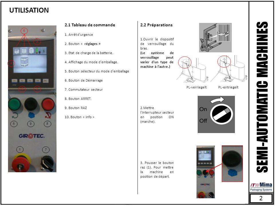 UTILISATION 2 1 10 968 7 PL-entriegeltPL-verriegelt SEMI-AUTOMATIC MACHINES 2.1 Tableau de commande 1. Arrêt d'urgence 2. Bouton « réglages » 3. Etat