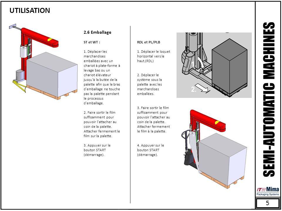 5 SEMI-AUTOMATIC MACHINES UTILISATION 2.6 Emballage ST et WT : 1.