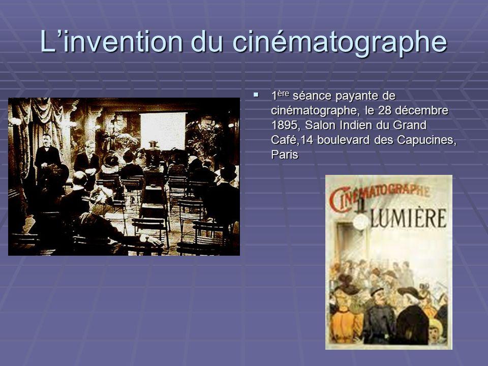Linvention du cinématographe 1 ère séance payante de cinématographe, le 28 décembre 1895, Salon Indien du Grand Café,14 boulevard des Capucines, Paris