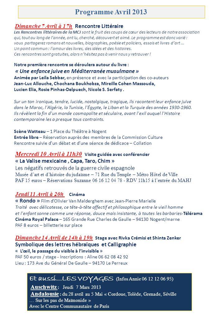 OULPAN – COURS DHÉBREU MODERNE Débutants Mardi 20h00 à 21h30 Faux Débutants Dimanche 9h45 à 11h15 Intermédiaires Mardi 18h30 à 20h00 Intermédiaires Mercredi 18h30 à 20h00 Avancés Dimanche 11h15 à 12h45 Tarif annuel : 226 euros - Etudiants-chômeurs : 186 euros Professeur Hava Barkai 06 70 07 17 84 - Infos Sylvia 06 13 08 15 95 Les cours ont lieu au 173 Ave du Gal de Gaulle 94170 Le Perreux YIDDISH Avec Lise GUTMANN - Cours le Vendredi de 10h à 12h Salle Alfred Dreyfus - Rue Emile Zola – Nogent sur Marne PAF 10 euros/séance - Inscriptions : Annie 06 12 12 06 95 LITTÉRATURE ISRAÉLIENNE Cours bi mensuel en hébreu avec Hava Barkaï – A la découverte dauteurs israéliens dans le texte original.