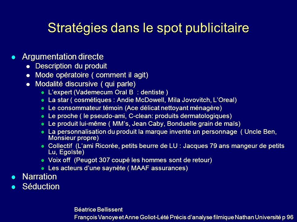 Stratégies dans le spot publicitaire Argumentation directe Argumentation directe Description du produit Description du produit Mode opératoire ( comme