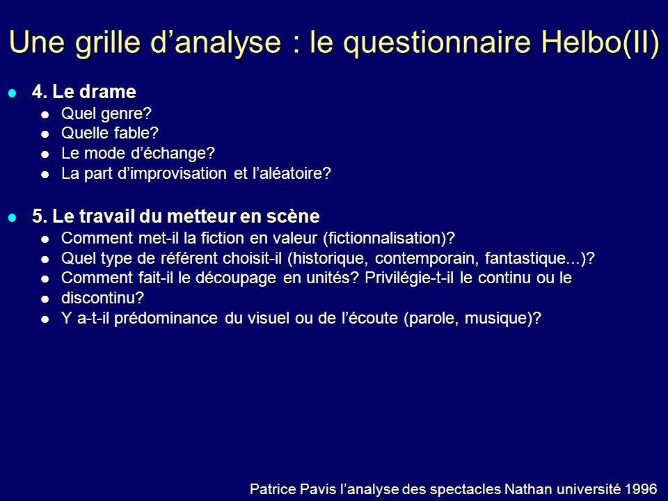 Une grille danalyse : le questionnaire Helbo(II) 4. Le drame 4. Le drame Quel genre? Quel genre? Quelle fable? Quelle fable? Le mode déchange? Le mode