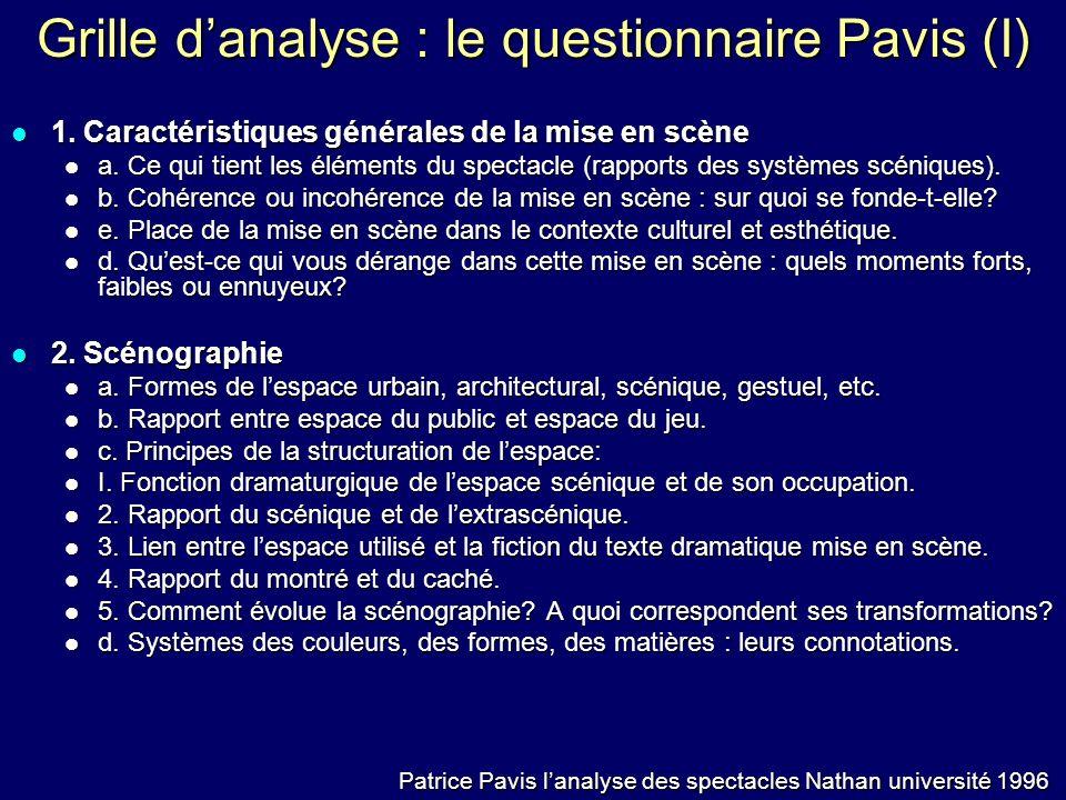 Grille danalyse : le questionnaire Pavis (I) 1. Caractéristiques générales de la mise en scène 1. Caractéristiques générales de la mise en scène a. Ce