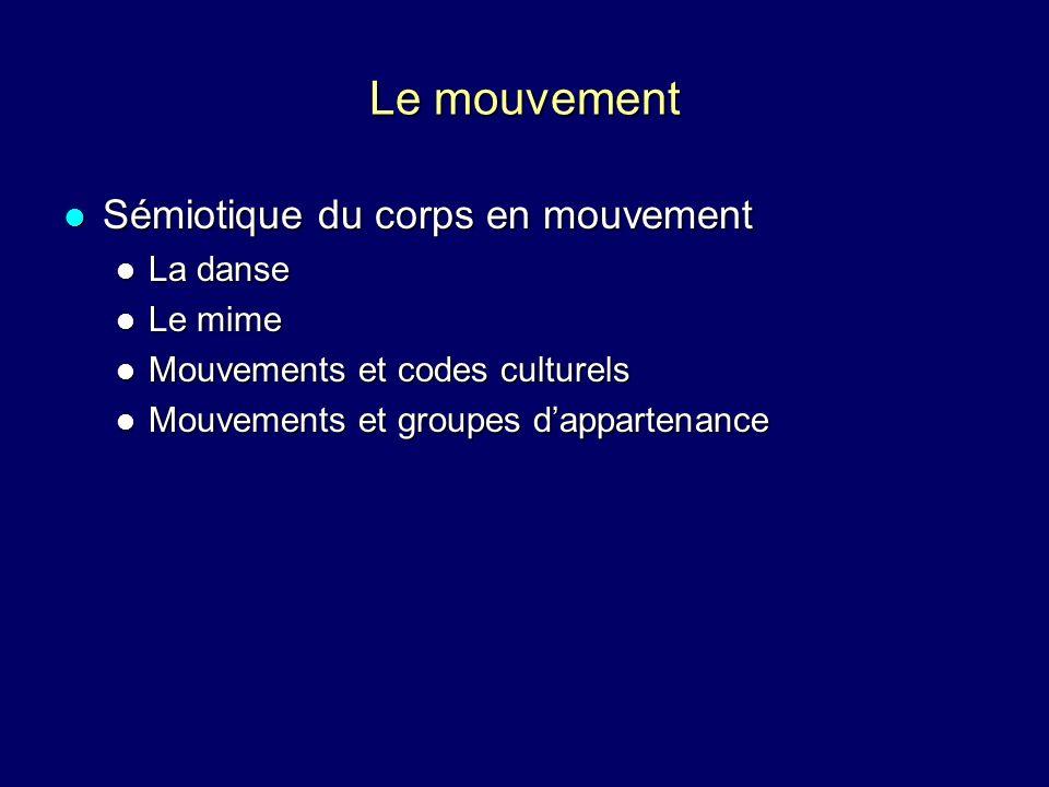 Sémiotique du corps en mouvement Sémiotique du corps en mouvement La danse La danse Le mime Le mime Mouvements et codes culturels Mouvements et codes