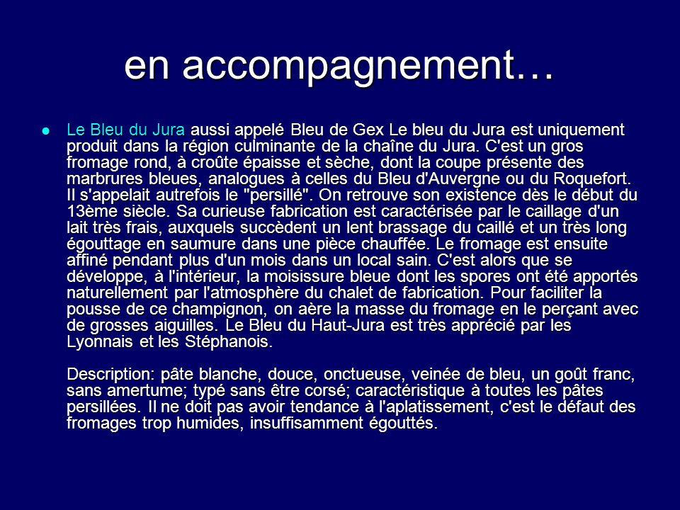 en accompagnement… Le Bleu du Jura aussi appelé Bleu de Gex Le bleu du Jura est uniquement produit dans la région culminante de la chaîne du Jura. C'e