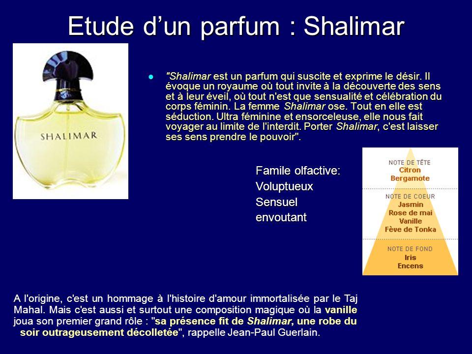 Etude dun parfum : Shalimar Shalimar est un parfum qui suscite et exprime le désir.