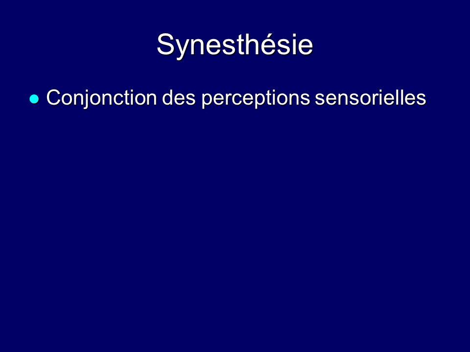 Synesthésie Conjonction des perceptions sensorielles Conjonction des perceptions sensorielles