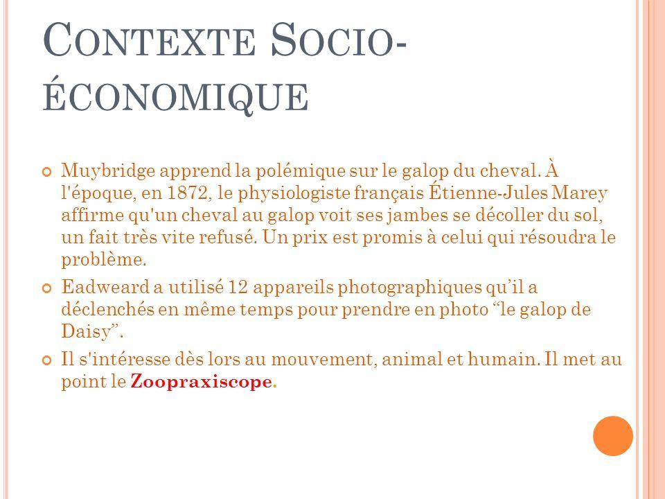 LE ZOOPRAXISCOPE Le Zoopraxiscope Inventé par Eadweard Muybridge En 1879 le Zoopraxiscope, le premier projecteur de film, un projecteur qui recomposait le mouvement par la vision rapide et successive des phases du mouvement.