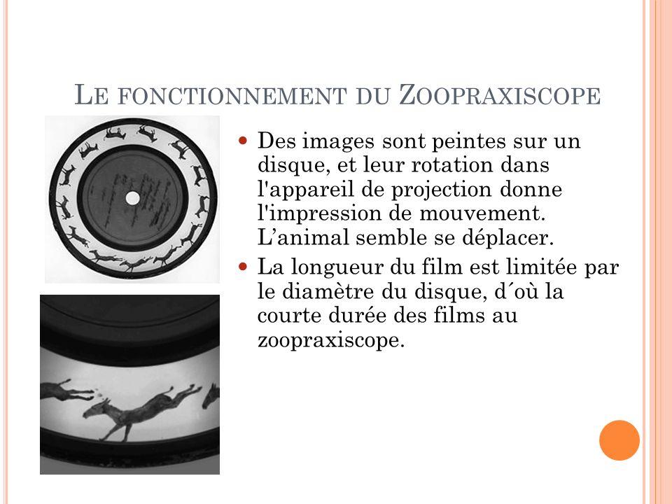 L E FONCTIONNEMENT DU Z OOPRAXISCOPE Des images sont peintes sur un disque, et leur rotation dans l'appareil de projection donne l'impression de mouve