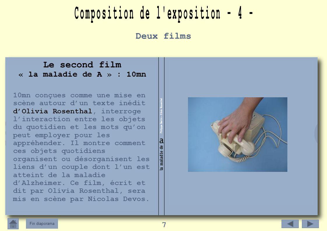 Fin diaporama 7 Le second film « la maladie de A » : 10mn 10mn conçues comme une mise en scène autour dun texte inédit dOlivia Rosenthal, interroge linteraction entre les objets du quotidien et les mots quon peut employer pour les appréhender.