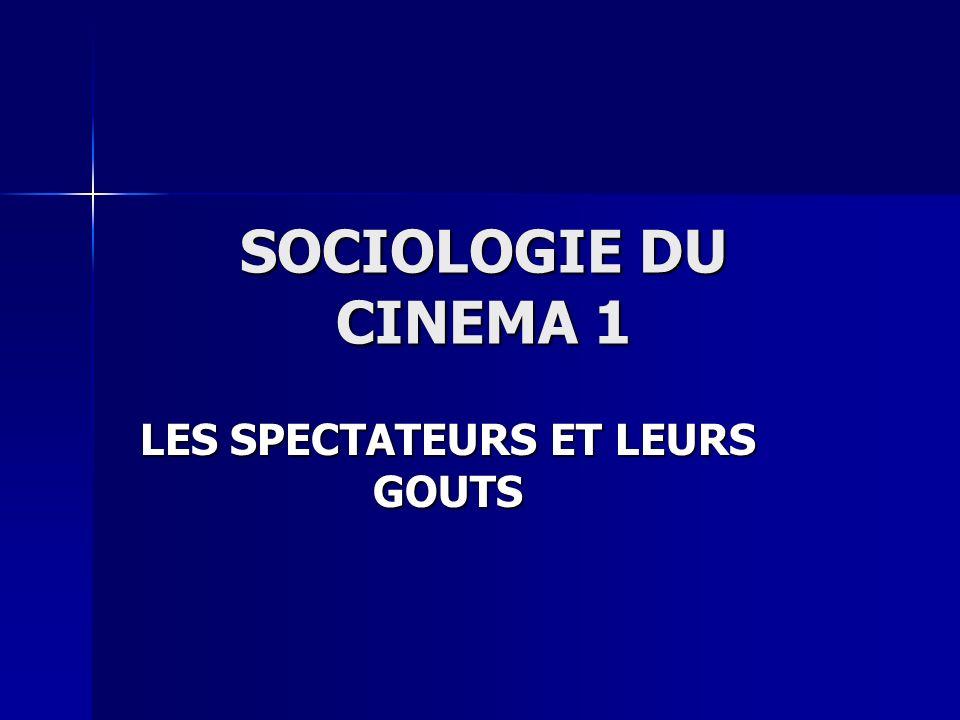 SOCIOLOGIE DU CINEMA 1 LES SPECTATEURS ET LEURS GOUTS
