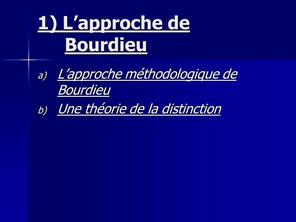 1) Lapproche de Bourdieu a) Lapproche méthodologique de Bourdieu b) Une théorie de la distinction