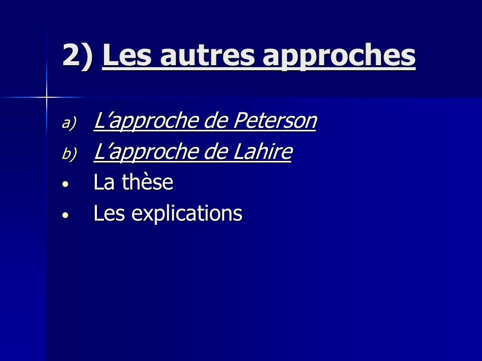 2) Les autres approches a) Lapproche de Peterson b) Lapproche de Lahire La thèse La thèse Les explications Les explications