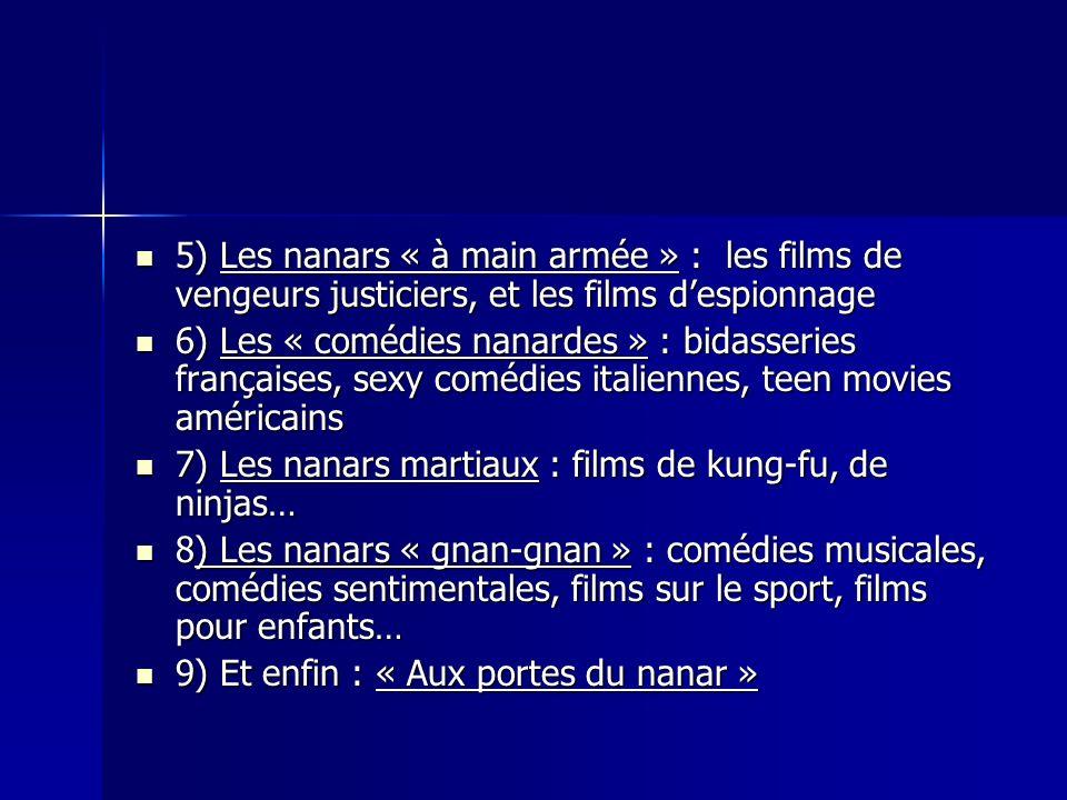 5) Les nanars « à main armée » : les films de vengeurs justiciers, et les films despionnage 5) Les nanars « à main armée » : les films de vengeurs jus