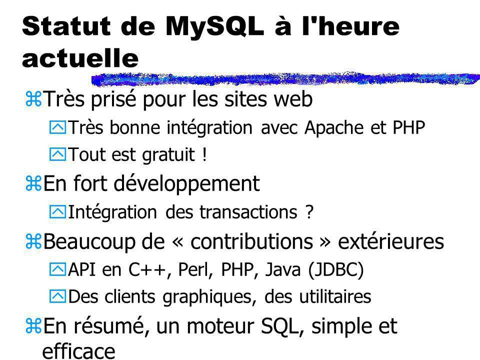 Statut de MySQL à l'heure actuelle zTrès prisé pour les sites web yTrès bonne intégration avec Apache et PHP yTout est gratuit ! zEn fort développemen