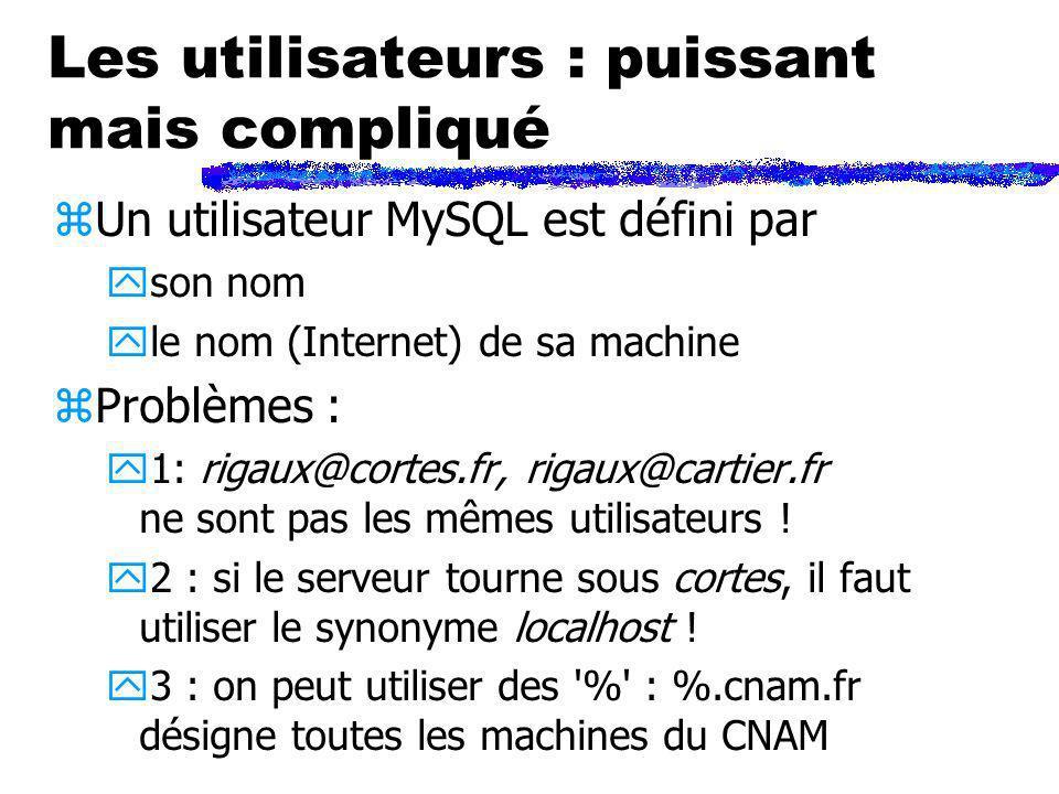 Les utilisateurs : puissant mais compliqué zUn utilisateur MySQL est défini par yson nom yle nom (Internet) de sa machine zProblèmes : y1: rigaux@cort
